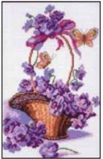Basket with purple flowers cross stitch