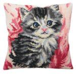 Cute Kitten in Flowers Tapestry Cushion Kit