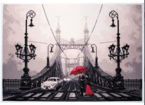 Foggy Night in Budapest - Printed Aida cross stitch